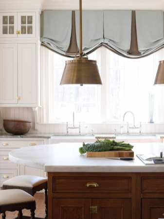 Two-inch-thick marble from Danby, Vermont tops the kitchen island.