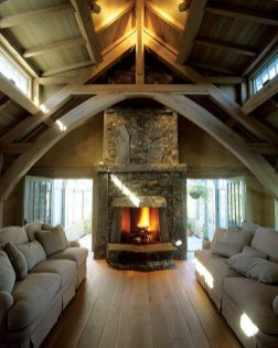 Split granite and fieldstone from Maine form a Vineyard home's fireplace.
