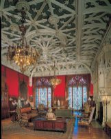 The elaborate ribbed ceiling of the formal Gothic Room.