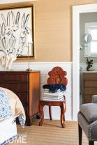 The couple collect the work of Manhattan-based artist Hunt Slonem, whose abstract rabbit painting sits above a dresser.