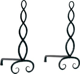 "Serpentine Andirons by Ironware International ""These andirons are great fun. Their hand-forged artisan look and beautiful finish give them a warm, unique feel. Put them near the fireplace for a very special look."" THROUGH KATHERINE COWDIN, INC."