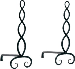 """Serpentine Andirons by Ironware International """"These andirons are great fun. Their hand-forged artisan look and beautiful finish give them a warm, unique feel. Put them near the fireplace for a very special look."""" THROUGH KATHERINE COWDIN, INC."""