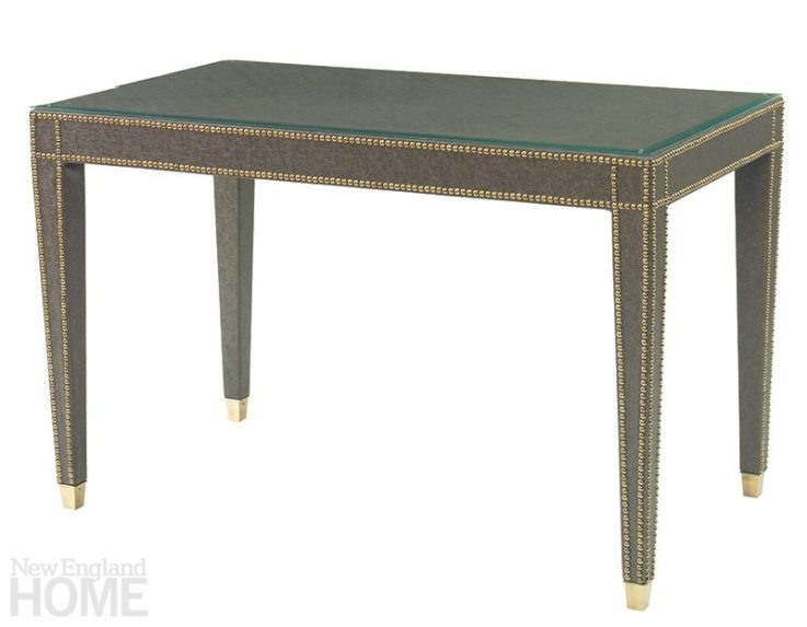 """Kravet Wrapped Desk in Linen """"Simple clean lines and refined detail are at the forefront on this desk. I can see this piece paired with a classic leather chair or jazzed up with a Ghost chair by Philippe Starck."""" Boston Design Center, (617) 338-4615, kravet.com"""