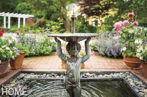 Historic Concord Home garden fountain