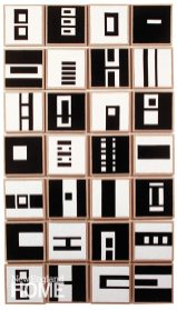Black and White Tiles (2009), each unit is 8″ × 8″, the whole is 32″W × 56″H
