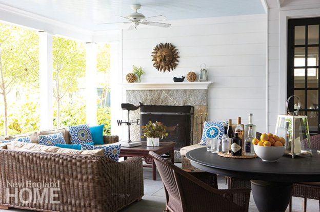 The large fireplace warms the covered porch on cool evenings.