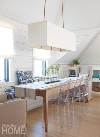 An eclectic seating collection surrounds the rustic dining table.