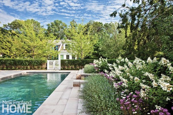 Stephen Stimson Associates landscape architect Joe Wahler created a composition to complement a home and guesthouse designed by Catalano Architects.