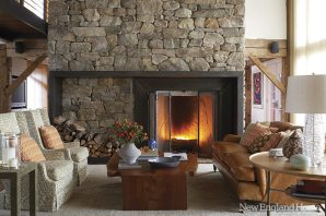 Davis and Owens designed the rectangular steel fireplace surround and log carrier.