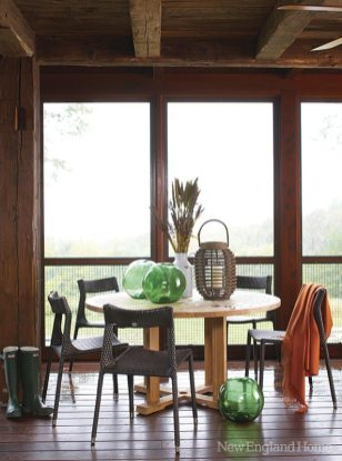The screened porch, another nod to rural life, is a lovely place to spend some twilight time.