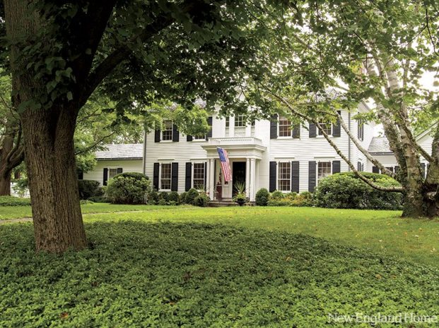 The genteel clapboard house sits on two well-tended acres overlooking Washington's historic green.