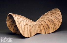 Butterfly Series sculpture (2008), African zebrawood, 10″H × 7.5″W × 22″L