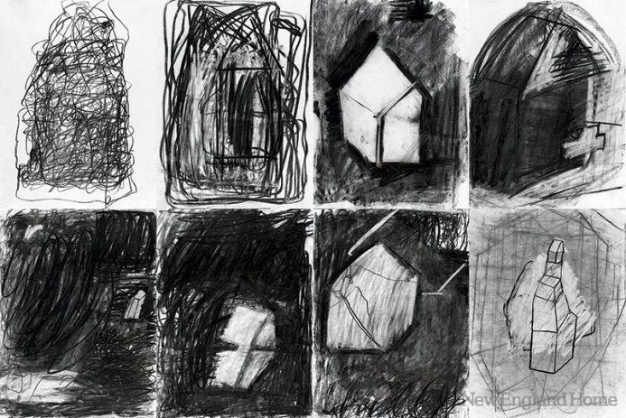 Maison Series I–VIII (2012), charcoal/eraser drawings