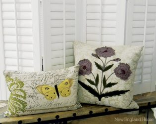 """Nature-Themed Cushions """"Inspired by vintage French botanical prints, these appliquéd pillows would look charming on the front porch this spring. Both are handmade in America by skilled artisans."""" Decorative Interiors (Photo by Julie Saillant)"""