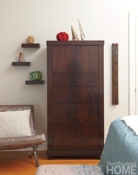 A collection of pieces from browngrotta arts, in Wilton, sets off a Clark-crafted chest.