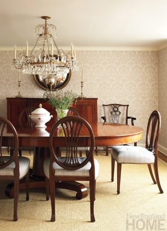 The dining room is a gracious setting for more formal occasions.