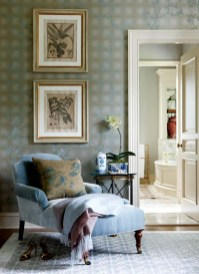 Antique botanicals bring the garden into the wife's dressing room.