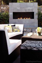 The modern fireplace.
