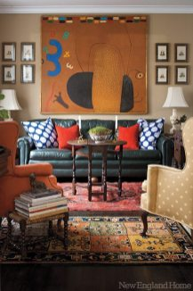 Like his mentor Albert Hadley, Rogers is skilled at blending styles and eras. The living room's lookalike French Chesterfield couches came via a local estate. The custom pillows are by John Robshaw.