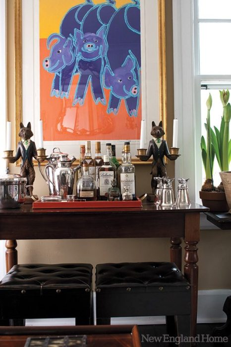 The bar table is from Lillian August.
