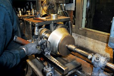 Cups, bowls, pitchers (and everything in between) are made by turning and shaping flat, round discs of raw pewter on a lathe.