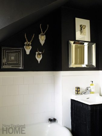 """Bubble baths revive me,"" says the designer, praising her master bath with its smart black-and-white theme."