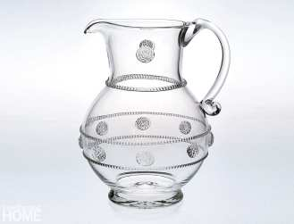 A large pitcher in the Berry & Thread pattern that launched the company.
