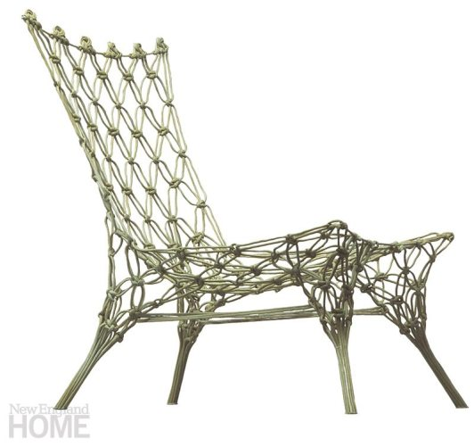 Opposites Attract. Macramé meets high-tech in the Knotted Chair by Marcel Wanders for Droog. The chair is made from carbon, aramid fiber, and epoxy. 21″W × 27¼″H x 25¼″D. $4,184. Montage, Boston, (617) 451-9400, montageweb.com