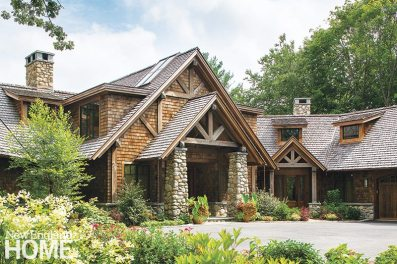 Steeply pitched roofs, half-timbering, and the use of local building materials are part of the tradition of the Adirondack style, much loved for the lakeside second homes and hunting lodges of the past.