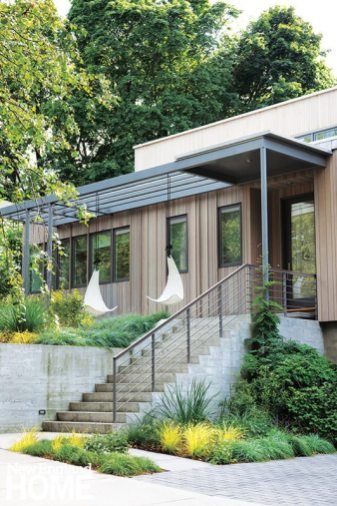Yard and house come together with an organic serenity that belies the home's urban location.
