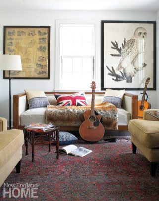 Eric's study holds a daybed from West Elm and an owl print once owned by designer Miles Redd that Susanna bought at a benefit.