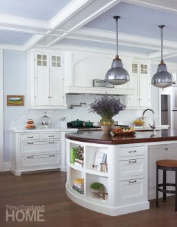 Architect Sean O'Kane stumbled upon the kitchen's vintage pendant lamps in nearby Ridgefield.