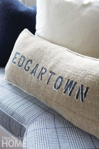 A pillow from Tracker Home Decor, an on-island boutique.