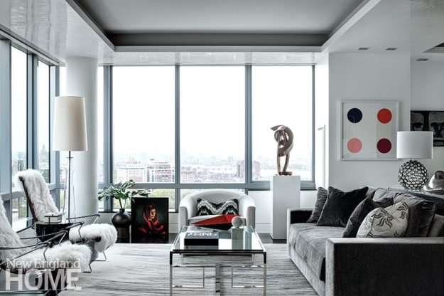 Contemporary Boston apartment living room
