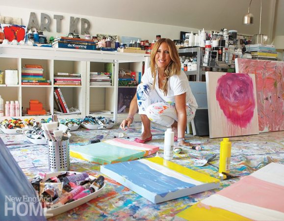 Surrounded by the tools of her trade in her attic studio in Weston, artist Kerri Rosenthal layers on the color. The evolution of her art led her to redesign her home's interiors.