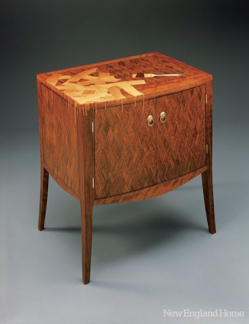 """Sloppy Paint Job (2003), shedua, satinwood and marquetry, 28"""" x 26 1/2"""" x 20"""""""