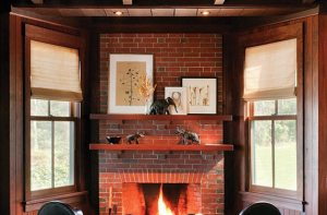 C & J Katz studio fireplace