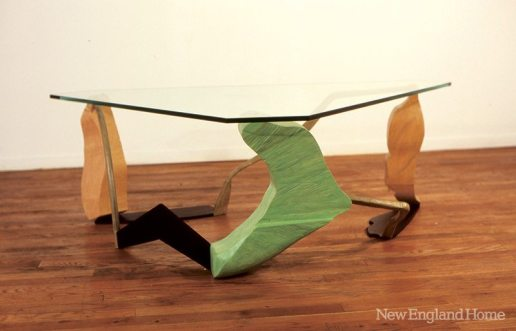 Three Shadows Table (1990), carved and painted maple legs, forged iron, glass, by John Scofield