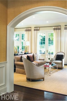 The family room offers two seating areas; this one, closest to the kitchen, is a popular gathering spot during prep time.