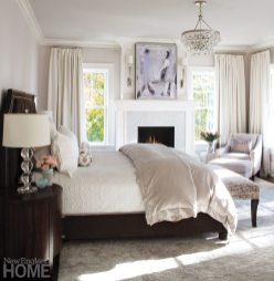 In the master bedroom, the walls and ceiling wear the barest whisper of lavender.