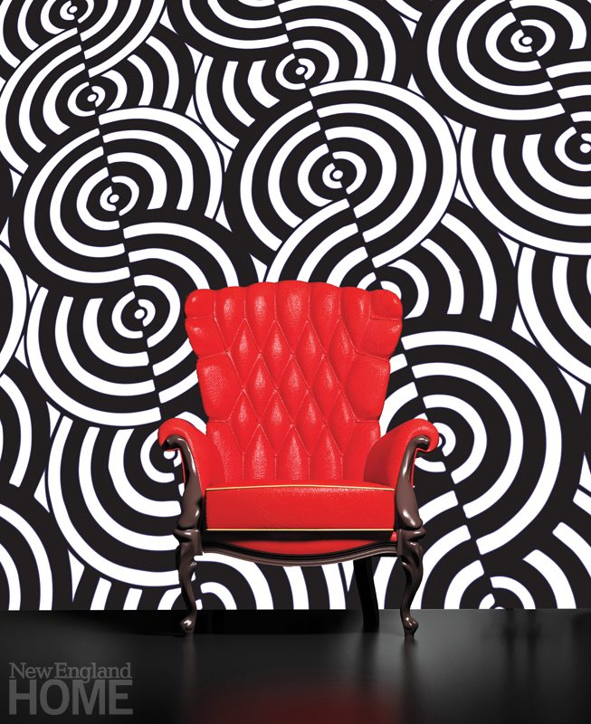 Mary Jo McGonagle designs bold, edgy -wallcoverings like this graphic black-and-white one, which she created in 2013.