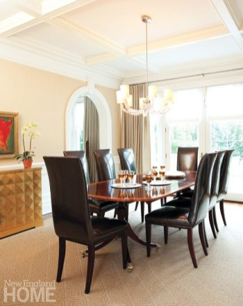 """The dining room's leather-upholstered seats are favorites with Scalo, who labels them her """"Prada chairs, since they're sexy like high heels."""""""