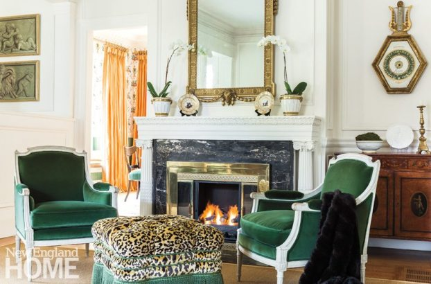 The designer continues her clever mixing of -elements in the living room, installing an antique French barometer above an Edwardian satinwood cabinet and an Adams-style mirror above the fireplace.