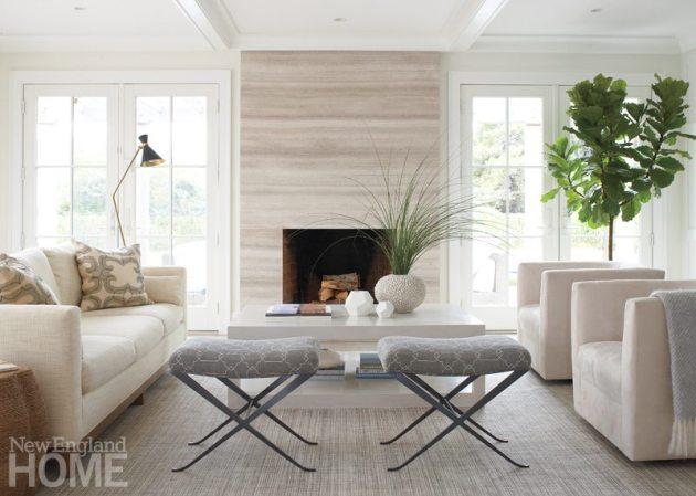 Nantucket Shingle Style Living Room
