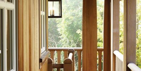 The handsome porch is an intriguing path to the front door.