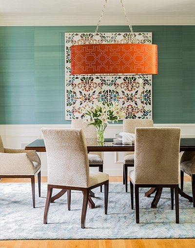 Tony Cappoli Dining Room with Grasscloth