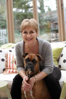 Homeowner and designer Karlan with Buckley, her three-year-old boxer.