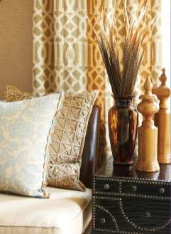 The sunroom plays with patterns and textures.