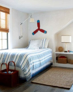 The couple's four boys share two bedrooms designed for maximum efficiency.