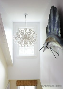A giant marlin adorns the stairwell.